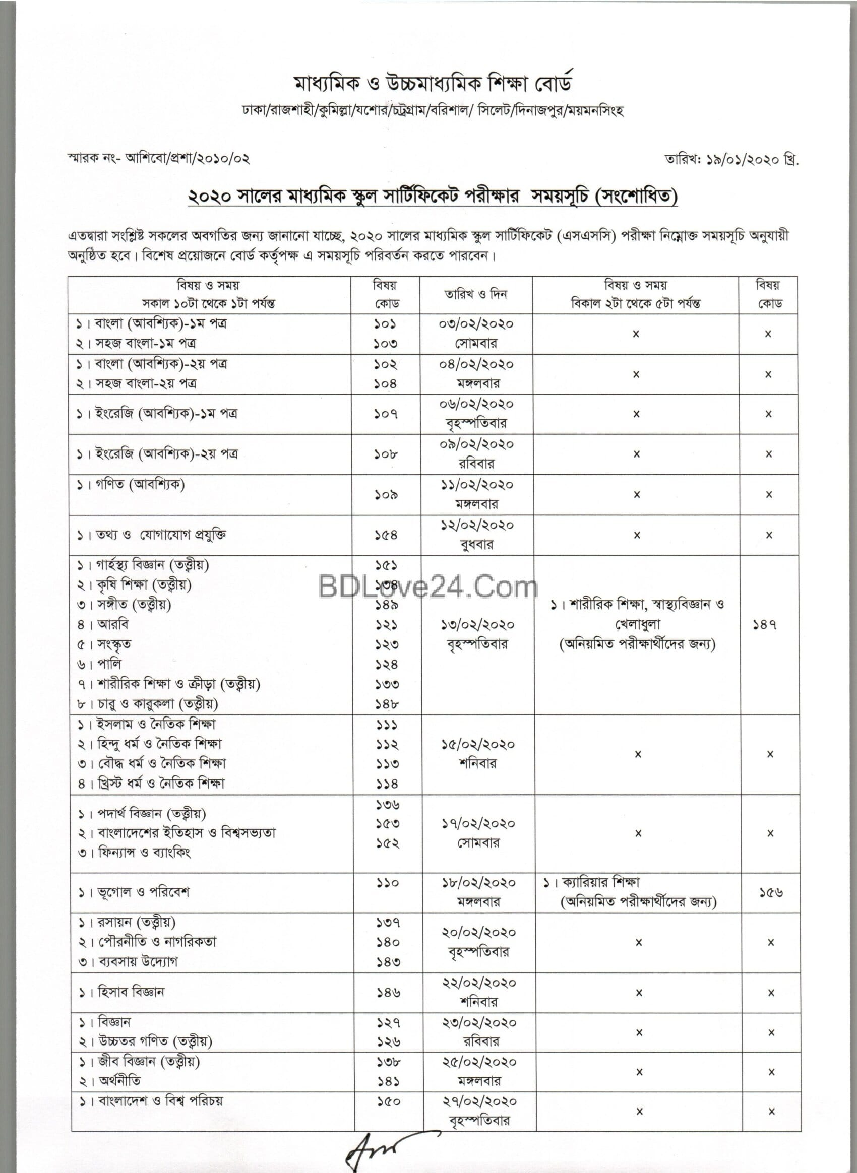 ssc rutine new 2020 0001 - SSC Exam Routine 2020 (new),Dakhil Exam Time Table 2020,SSC and Dakhil (New Routine)
